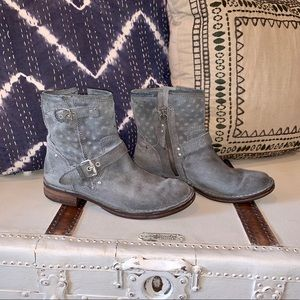 UGG Grey Suede Moto Boots with Shearling Lining